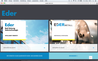 Eders Website www.meister-eder.com auf dem neuesten Stand (Design: Running Frames, Roding)