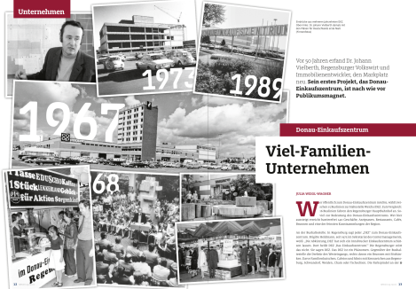 """Artikel über das 50-jährige Jubiläum des Donaueinkaufszentrums in Regensburg in """"Wirtschaft konkret"""" 9/2017"""