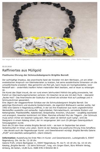 """Buchbesprechung aus """"Bayerische Staatszeitung"""", 2.3.2018"""