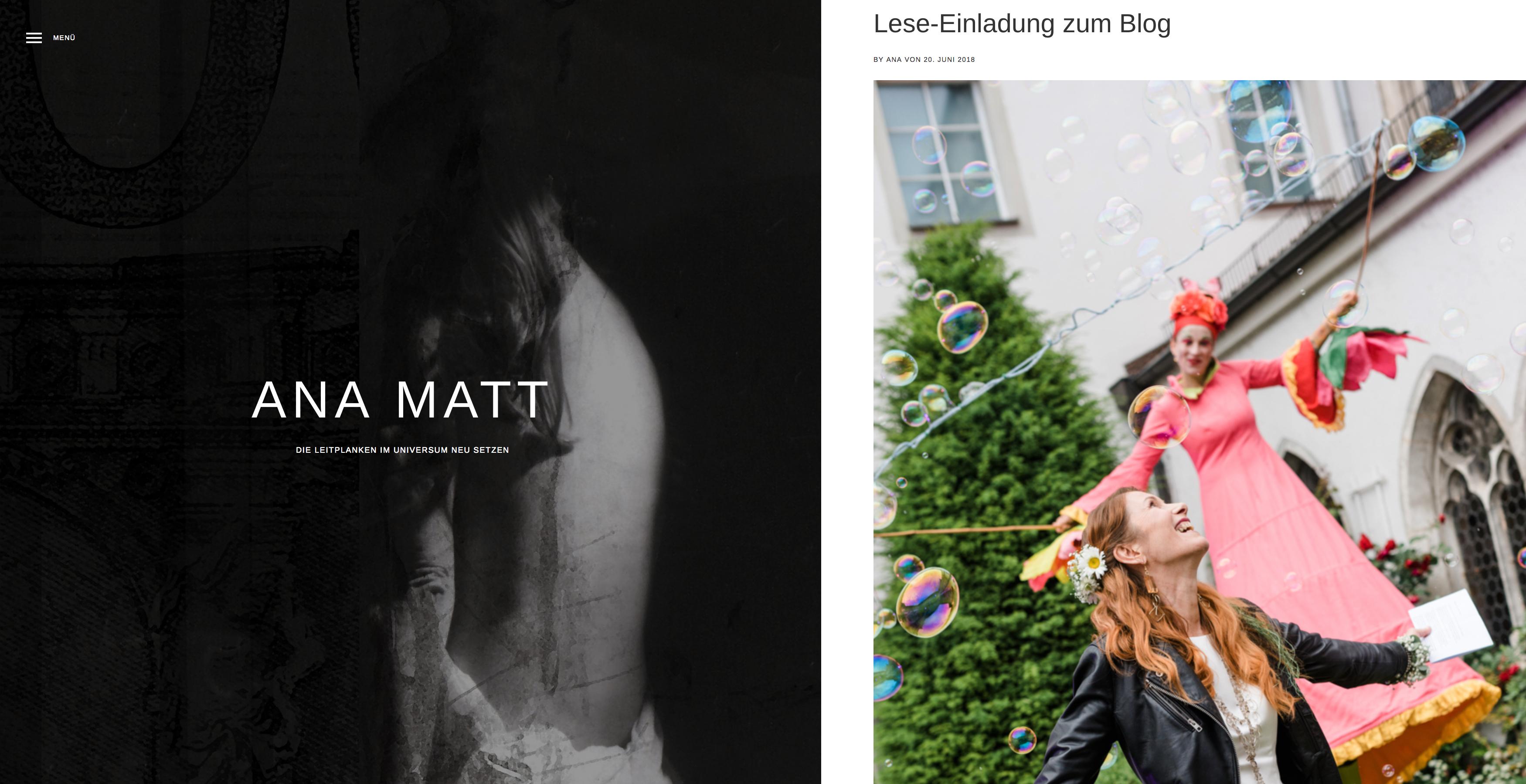 Bildschirmfoto von Ana Matts Blog